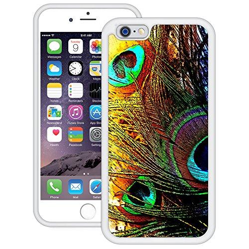 Regenbogen Pfau Federn | Handgefertigt | iPhone 6 6s (4,7') | Weiß TPU Hülle