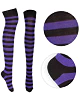 Oromiss Ladies Over Knee Socks High Colourful Striped Fancy Dress