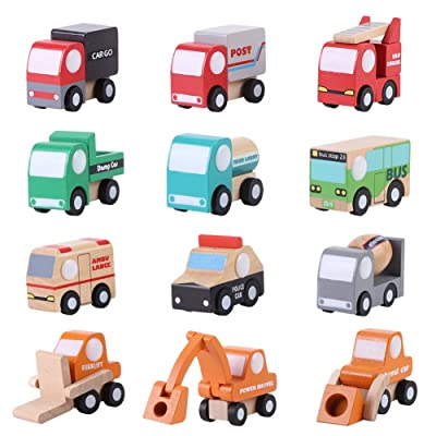 Yosoo 12 PCS Wooden Town Vehicles Set Wooden Toys Set Toy Car Truck Wood Push Toys Educational Traffic Toys Children Gift Mini Car Model Construction Toy Train Sets: Home & Kitchen