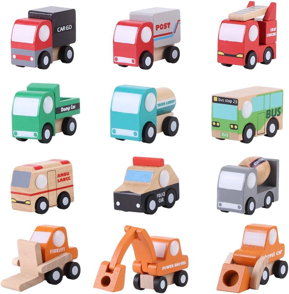 Coche de juguete de dibujos animados, 12 Unids/set Juguetes educativos de tráfico de aprendizaje temprano de madera Coche de juguete de dibujos animados para bebé Niño Niños Cumpleaños Regalo de Nav