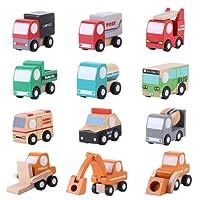 Zerodis 12 Pz/Set di veicoli in legno Set di mini auto giocattolo per bambini Giocattoli di traffico educativo precoce Compleanno Regali di Natale per bambini Toddlers Boys