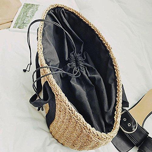 JUNERAIN Bolso de Mano para Mujer, Diseño de Pajita y Playa