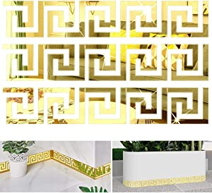 CAQIKRIG 48Pcs DIY Mirror Stickers Removable Adhensive DIY Art Design Wall Stickers Decals for Home Art Room Bedroom Background Decoration (Geometric Greek Key Pattern)(Gold)