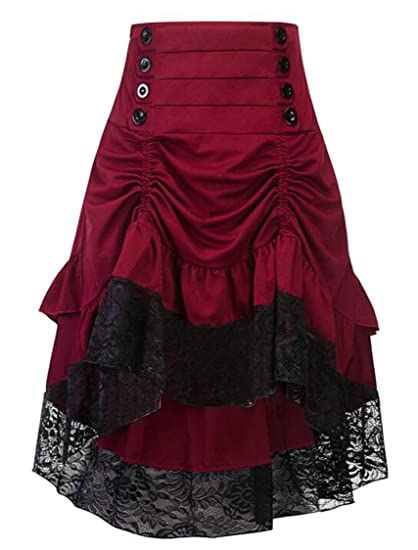 5ad35fcec08 HTOOHTOOH Women Retro Vintage Solid High Low Gothic Corset Victorian Skirt  Wine Red XXS