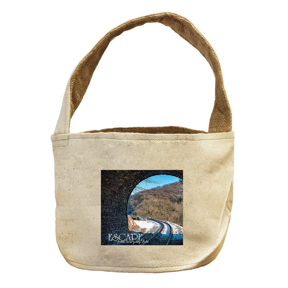 Escape from Everyday Life in Mountains Canvas and Burlap Storage Basket
