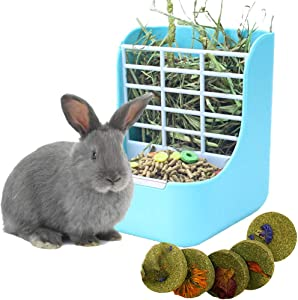 kathson Hay Food Bin Feeder, Rabbit Hay Feeder Hay and Food Feeder Bowls Manger Rack Pet Chew Toys Grass Cake for Bunny Guinea Pig Chinchilla Hamsters