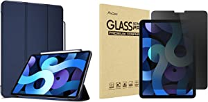 """ProCase iPad Air 4 2020 Slim Case with Pencil Holder Bundle with iPad Air 4 10.9"""" 2020 Privacy Screen Protector"""