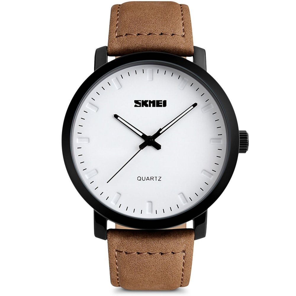Mens Unique Analog Quartz Waterproof Business Casual Leather Band Dress Wrist Watch with Simple Fashion Classic White Time Mark Design, Key Scratch Resistant Face, 98FT 30M Water Resistant (Brown)