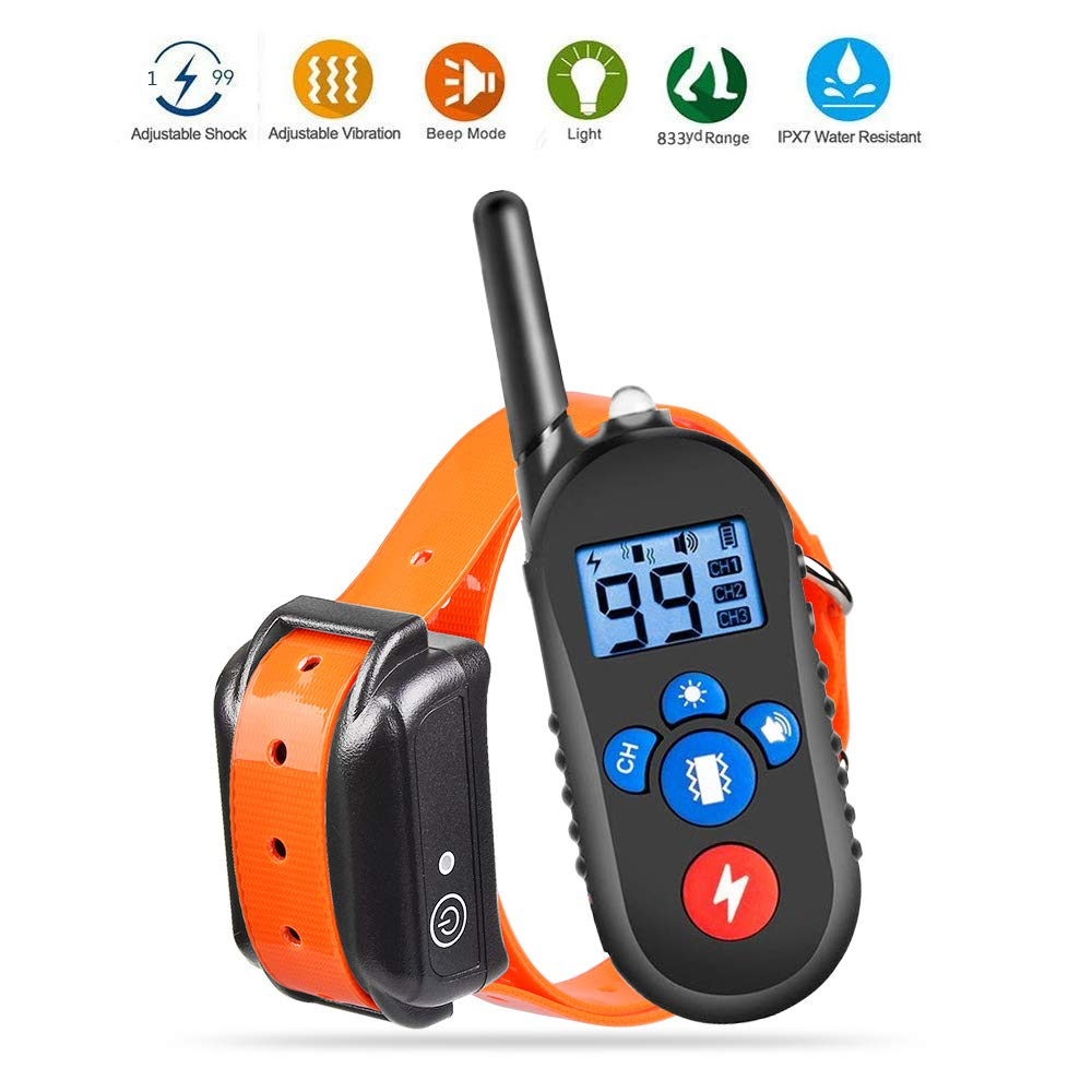 Dog Training Collar, Dog Shock Collar with Remote 2500ft Range with Beep Vibra Shock LED Light Waterproof IPX7 Electric Dog Bark Collar for Medium Large Dogs by iDogin
