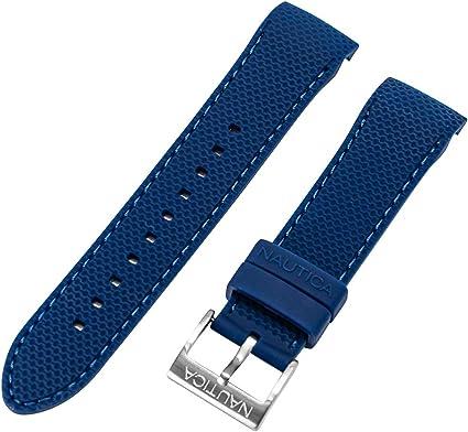 Nautica N19602G A19602G NST 600 Chrono 22 mm blu PU gomma originale cinturino di ricambio per orologio