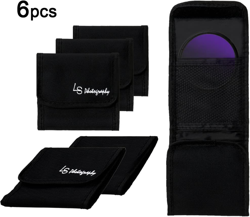 LGG40 LS Photography 6 pcs x 3 Pocket Camera Lens Filter Case Carry Pouch for Round Circular or Square Filters