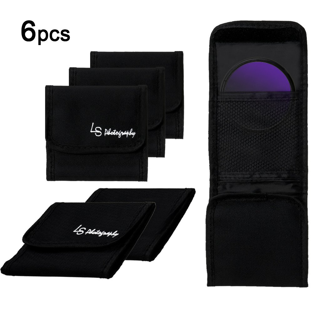 LS Photography 6 pcs x 3 Pocket Camera Lens Filter Case Carry Pouch for Round Circular or Square Filters, LGG40 by LS Photography