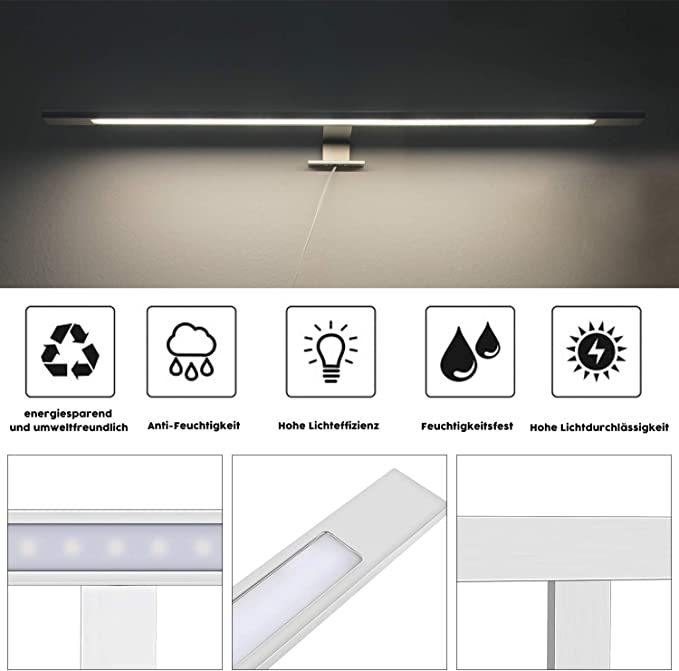 Aplique Baño led LED, 7W, 600mm, Alúmina, Blanco Neutro (4000K ...