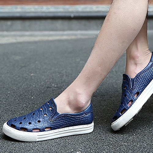 Sandals MAZHONG Beach Shoes Men Hole Shoes Men's Shoes Breathable Summer Non-slip Garden Shoes (Color : Black, Size : EU43/UK9/CN44) Blue