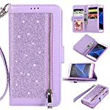 Nadoli Samsung Galaxy S7 Edge Glitter Case,Luxury Splice Color Bling PU Leather Flip Wallet Cover with 9 Card Slots Stand Shockproof Case,Purple