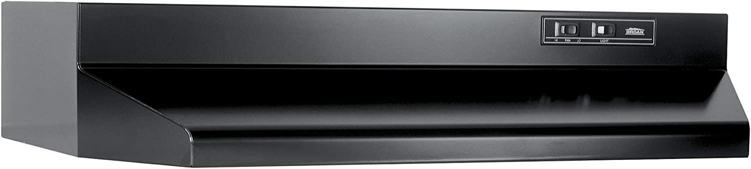 Broan 403623 Convertible Range Hood Insert with Light, Exhaust Fan for Under Cabinet, Black, 6.5 Sones, 160 CFM, 36""