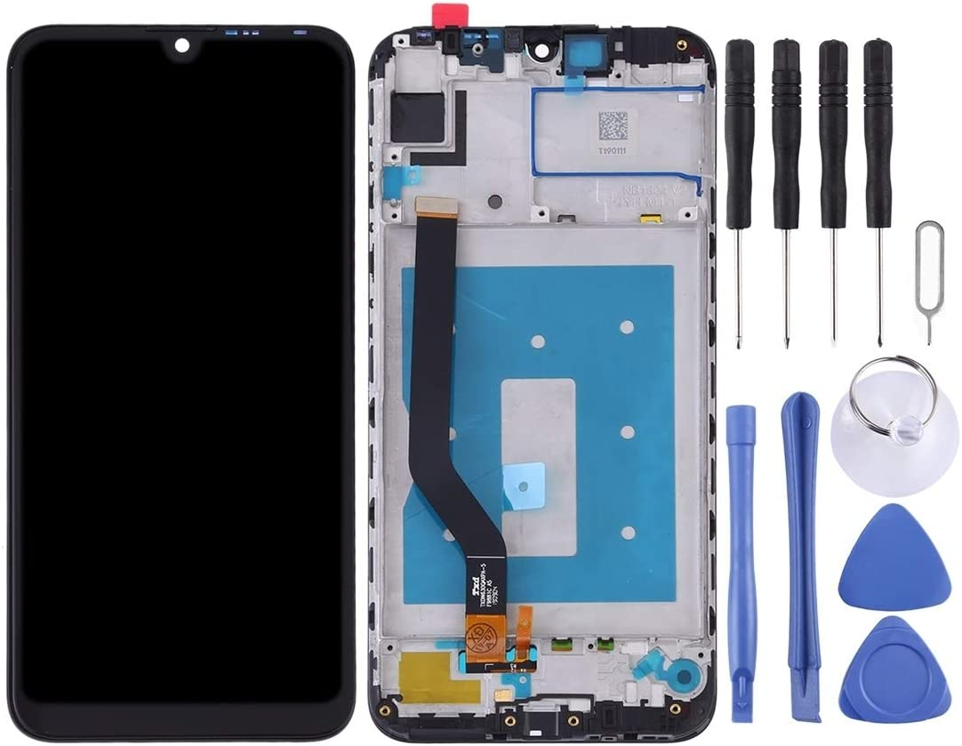 Black LCD Screen Mobile Phone and Digitizer Full Assembly with Frame for Huawei Y7 Prime 2019 Color : Black