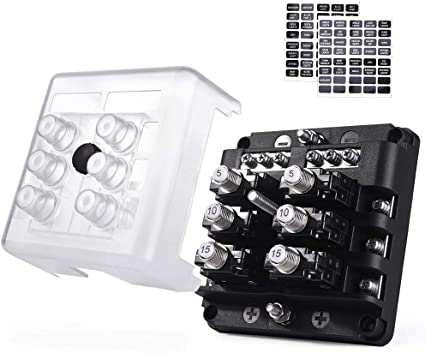 Amazon.com: SS VISION 6 Way Fuse Box, One - Touch Reset, No Need Fuse  Replacement, 100A 32V Circuit Breaker Fuse Block Box with Durable  Protection Cover and Sticker Label for Automotive MarineAmazon.com