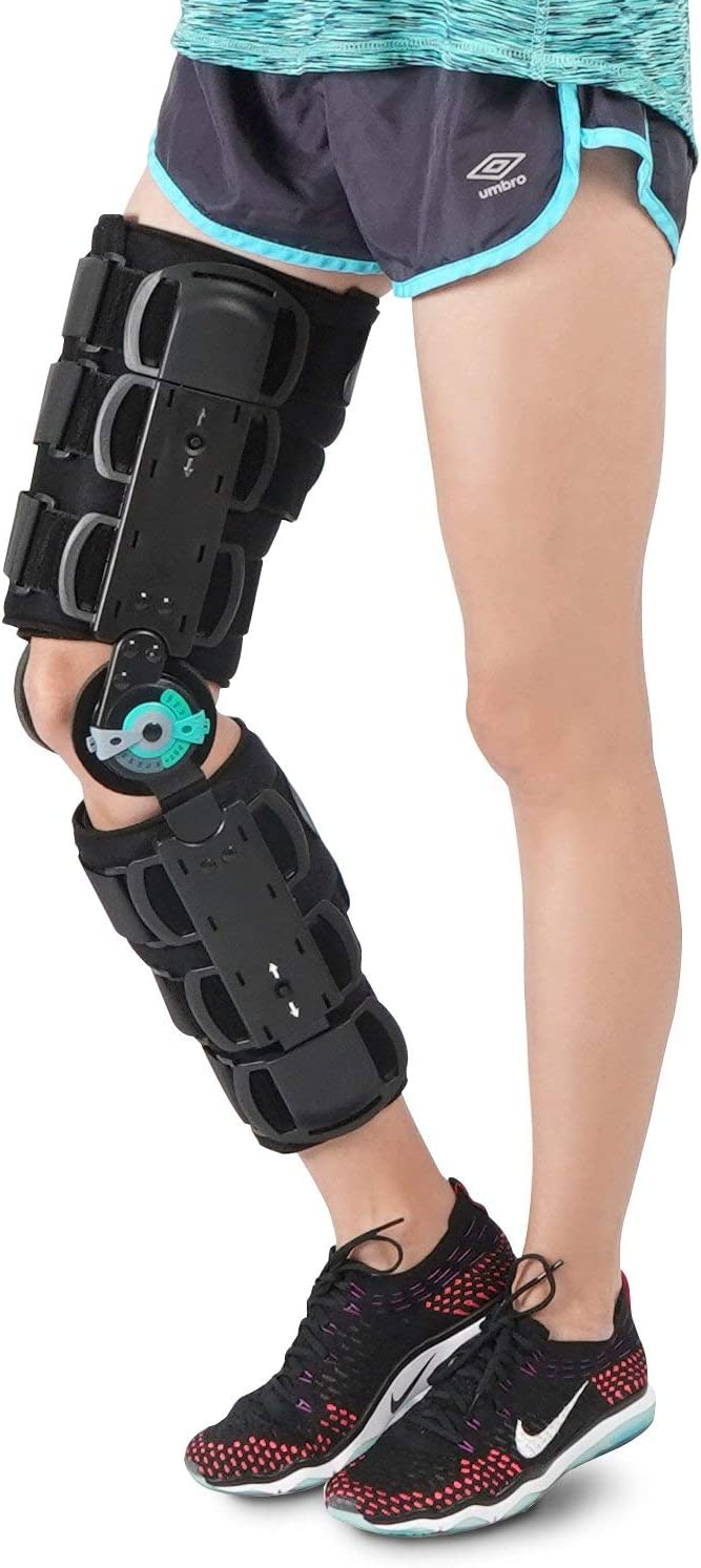 Soles Universal Hinged Knee Brace Telescoping ROM Orthosis Knee Brace, Adjustable Leg Stabilizer – Post Operative Injury Support for ACL, PCL, MCL or LCL - One Size Fits Most - Unisex