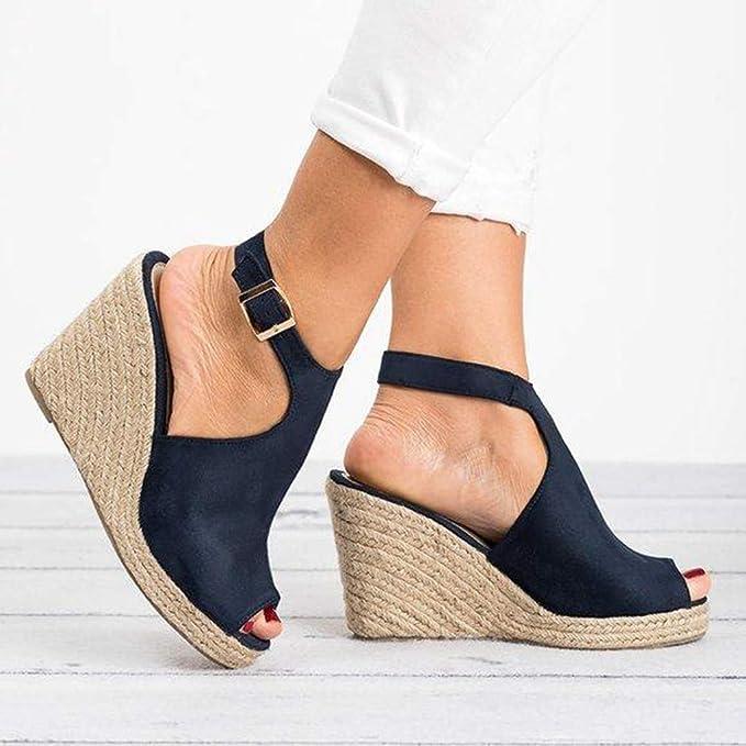 Amazon.com: Sandalias de cuña para mujer con hebilla y ...