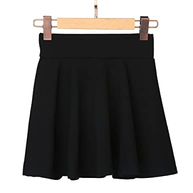 6d1016f8a Baiggooswt Women Stretch Waist Flared Mini Skater Skirt Casual Basic A Line Pleated  Skater Skirts Black
