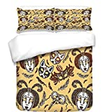 iPrint 3Pcs Duvet Cover Set,Masquerade,Venetian Style Paper Mache Face Mask with Feathers Dance Event Theme,Mustard Brown White,Best Bedding Gifts for Family/Friends
