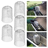 Magicfly Gutter Guard, 3 inch Expand Aluminum Filters, Keeps Strainer Unclogging, Pack of 5, Silver