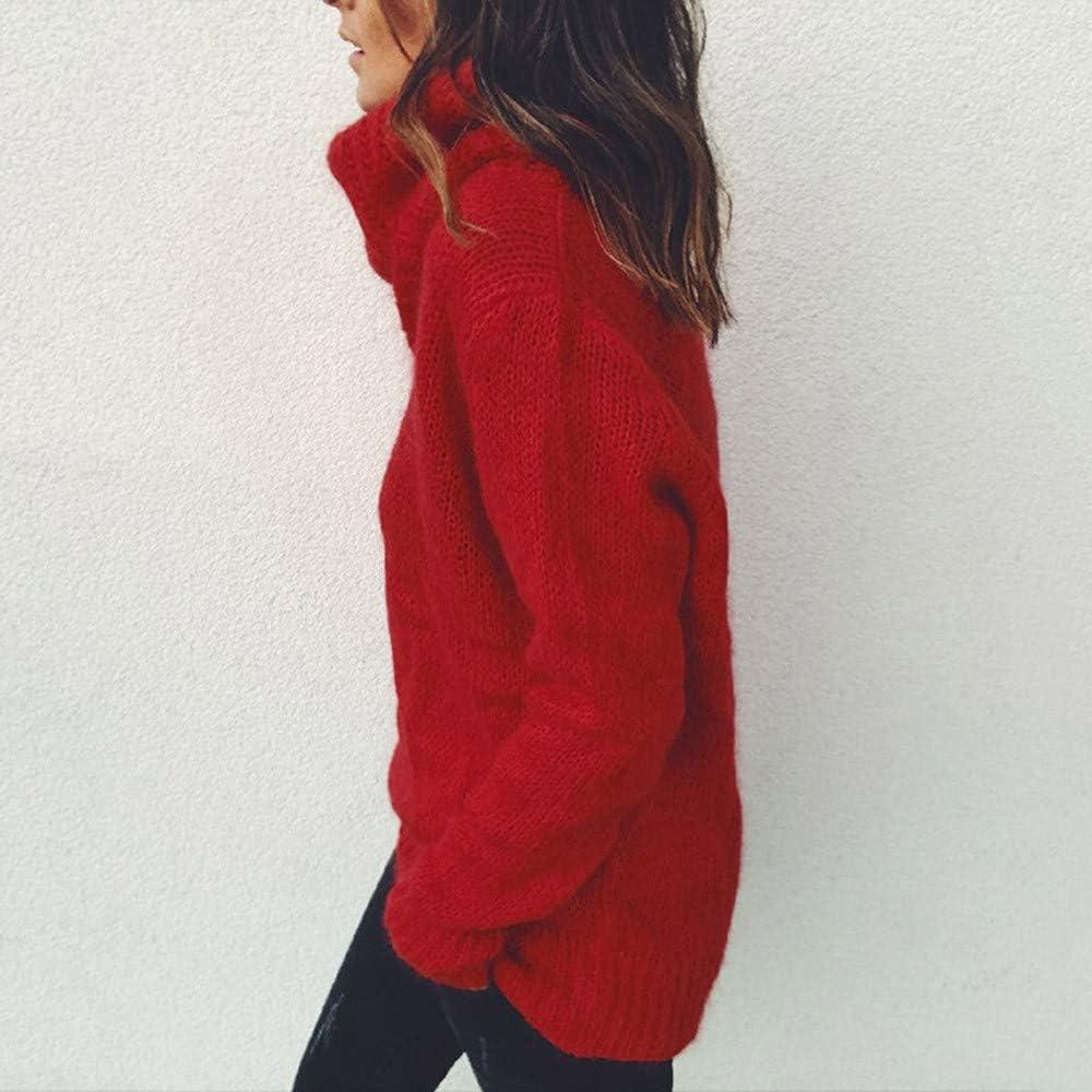 LILICAT Damen Rollkragen Basic Pullover Lose Rundhals Sweater Einfarbig Elegant Strickwaren Oberteile Casual Rollkragenpullover Hals Langarm Strick Pullover Tops