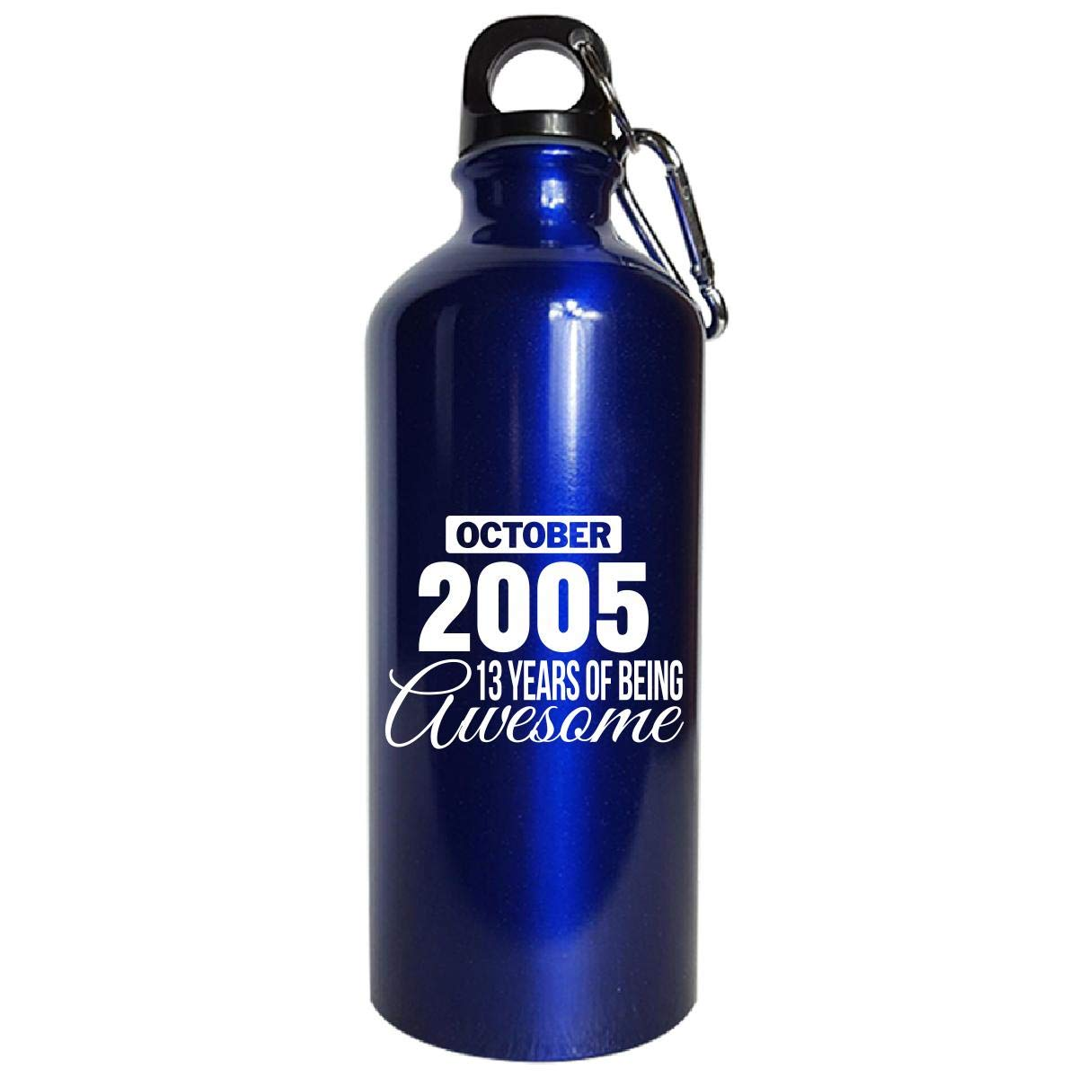 October 2005 13 Years Of Being Awesome Funny Birthday Gift - Water Bottle Metallic Blue by Shirt Luv (Image #1)