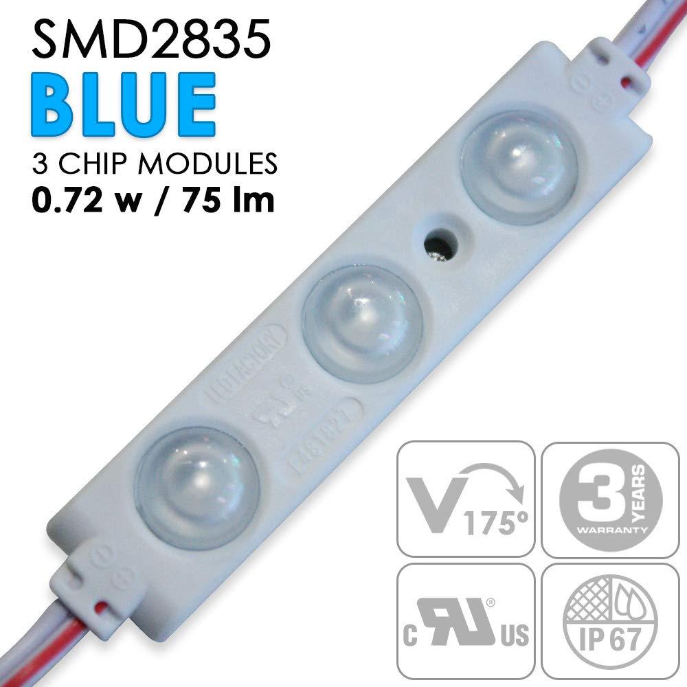 UL認定SMD LEDモジュール - 0.72W - 防水 - ワイドビームアングル - 永久グレード3Mテープで取り付け簡単 3 Lights per Module ブラック E9-60MY-Y1TG B07KCN463Z #2224