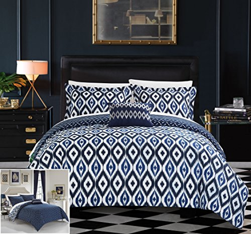 Chic Home 4 Piece Normani Reversible Ikat Diamond and Contem