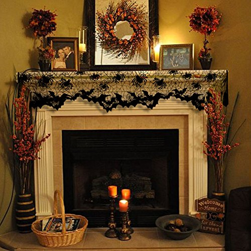 Aytai Halloween Black Lamp Shades Cover with Ribbon, Lace Spider Fireplace Mantle Scarf Cover Window Valance for Black Halloween Decorations, Multifunction Product 18inch x 60inch
