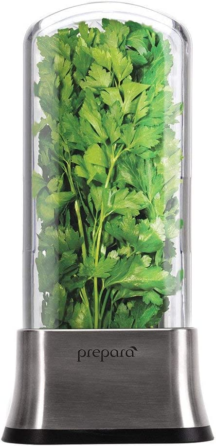 Prepara Savor Stainless Steel Container Fresh Herb Keeper, 6.3 x 2.36 x 11.02 inch, Black