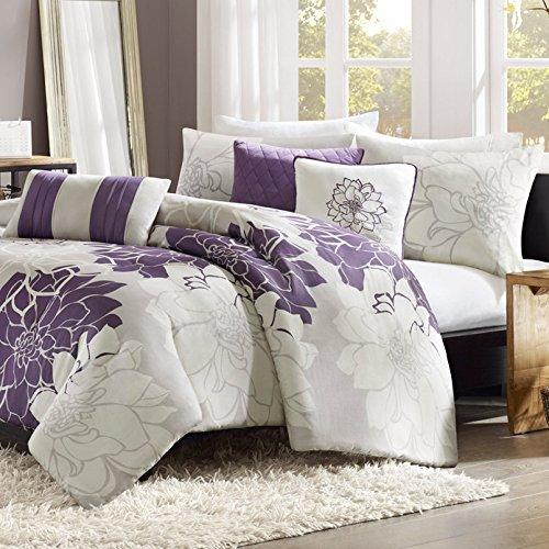 6 Piece Bedding Duvet Cover Set in Reversible Grey Purple Fl