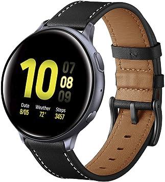 Aottom Correa Compatible con Samsung Galaxy Watch Active2/ Galaxy Watch 42mm Reloj 20mm Band Cuero Correas Samsung Galaxy Watch Gear Sport/Active/Active2/Garmin VivoActive3 Pulsera de Repuesto,Negro: Amazon.es: Electrónica