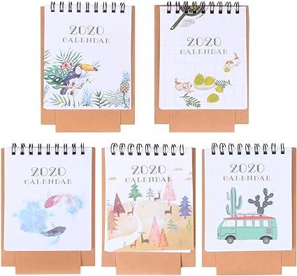 Stobok 5 unidades Mini Calendario de mesa 2020, dibujos animados ...