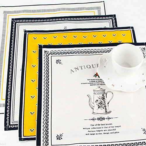 Bellagione Cotton Linen Cloth Napkins Placemats for Dining Table Coffee Kitchen Place Mat Set of 4 Patterns Heat Resistant Placemat Machine Washable for Kitchen Coffee Wedding Party 13.8 X ()