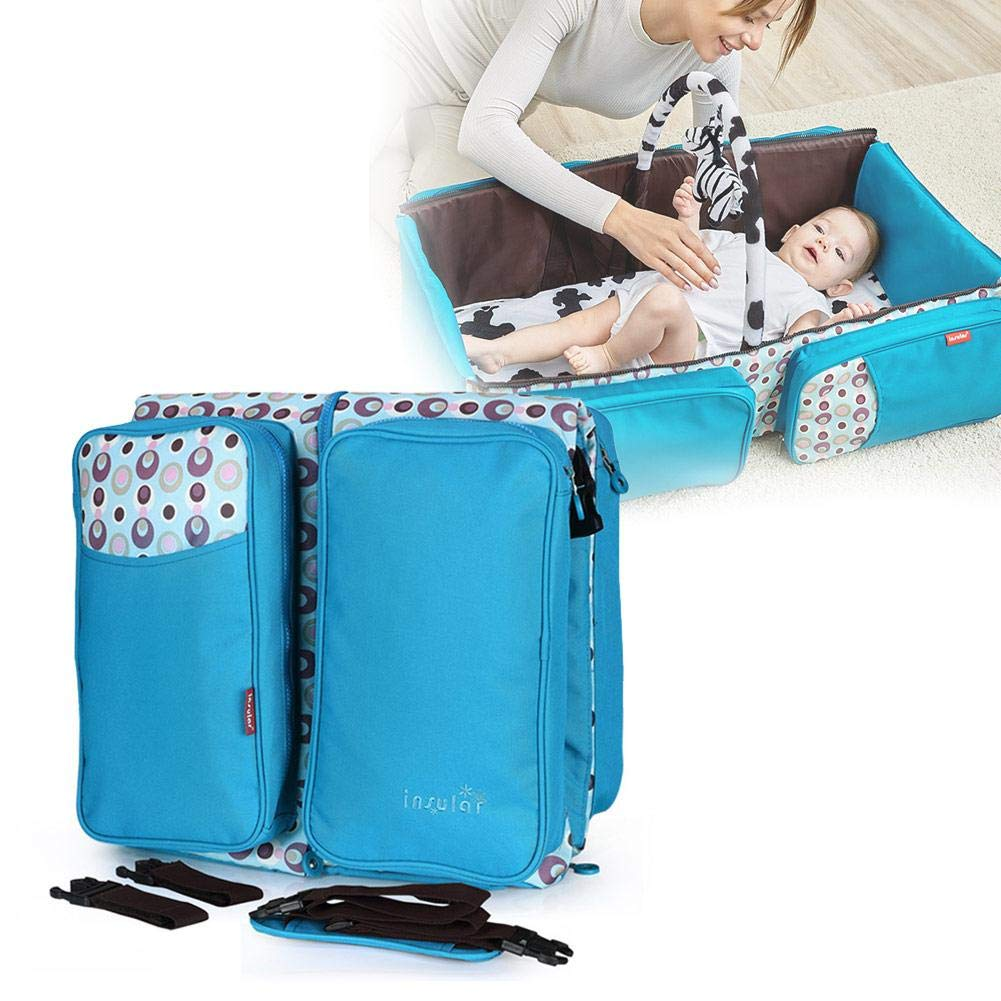 Chengstore Multi functional Diaper Bag Foldable Baby Bed,Portable Bassinet with Mosquito Net,Large Capacity Mummy Bag,Easy Folding For Travel