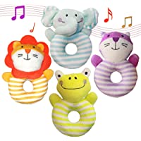 Aminord 4PCS Soft Rattle Newborn Baby Toys for 3, 6, 9, 10, 12 Month Girl Boy,Infant Rattle Toys
