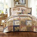 Tache 5 Pc Exotic Cotton Japanese Emperor's Garden Reversible Patchwork Bedspread Quilt Set, Full