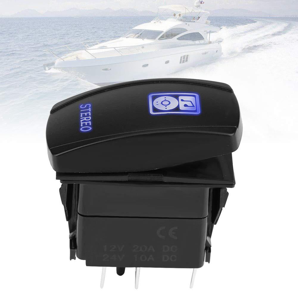 DC12V//24V ON-OFF Rocker Toggle Switch Blue LED Light withStereo Symbol for Car Boat Marine LED Rocker Switch