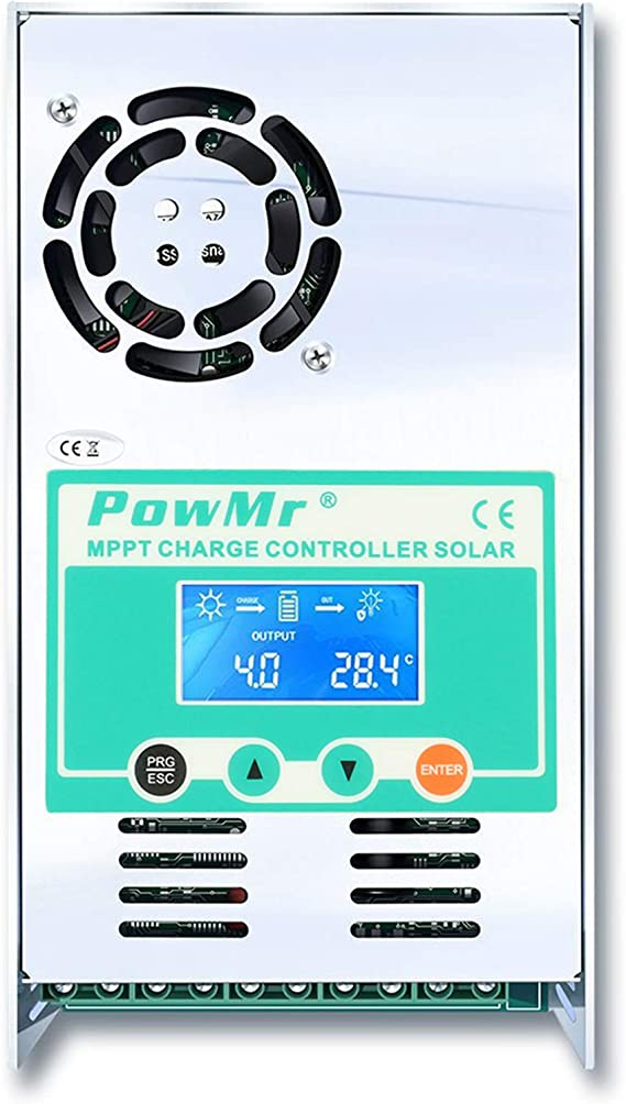 DDIGEjin Solar Panel Regulator Charge Controller 60A MPPT for 12V//24V Auto Focus Tracking SOC Function Dual USB Overload Protection Temperature Compensation US Stock