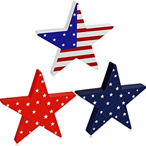 Youyole 3 Pieces Independence Day Wooden Star Blocks Patriotic Wood Star Standing Blocks 4th of July Tabletop Decor for American Festival Celebration Home Decor (American Flag Prints Series)