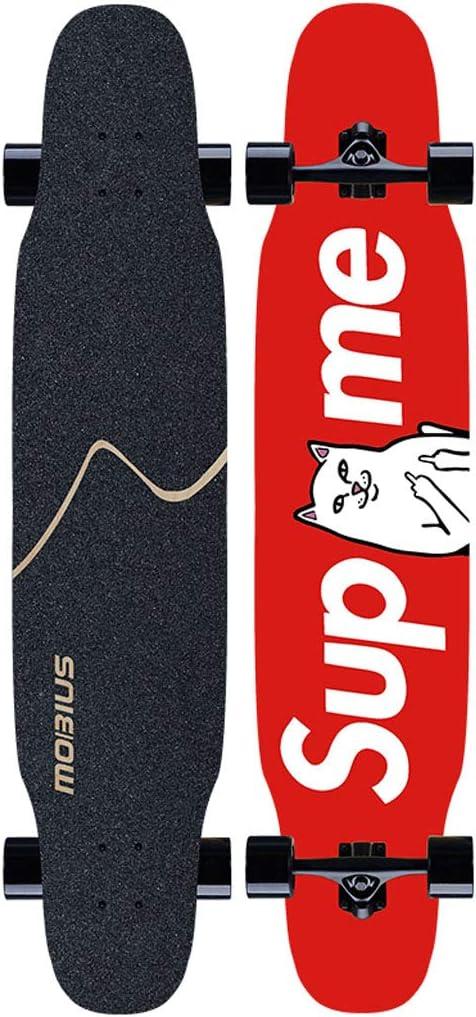 スケートボード スムースPUキャスター付き初心者用ダンスロングボード7層メープル用スケートボード46インチ(デッキからのドロップ-凹面キャンバー) スポーツ アウトドア #4