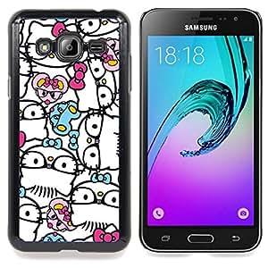 For Samsung Galaxy J3 - Abstract Hipster Kitty Bowtie White /Modelo de la piel protectora de la cubierta del caso/ - Super Marley Shop -
