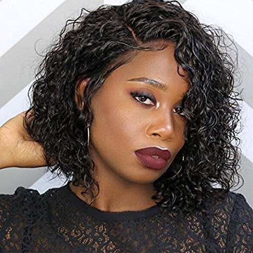 Full Lace Human Hair Short Wigs Curly for Women Brazilian Virgin Hair Short Bob Curly Human Hair Lace Front Wigs with Baby Hair (10 Inch Lace Front Wig, Natural Color) by Luier Hair