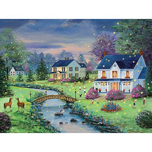 Bits and Pieces - 300 Large Piece Jigsaw Puzzle for Adults - Firefly Magic - 300 pc Country Summer Nights Jigsaw by Artist Mary Ann Vessey