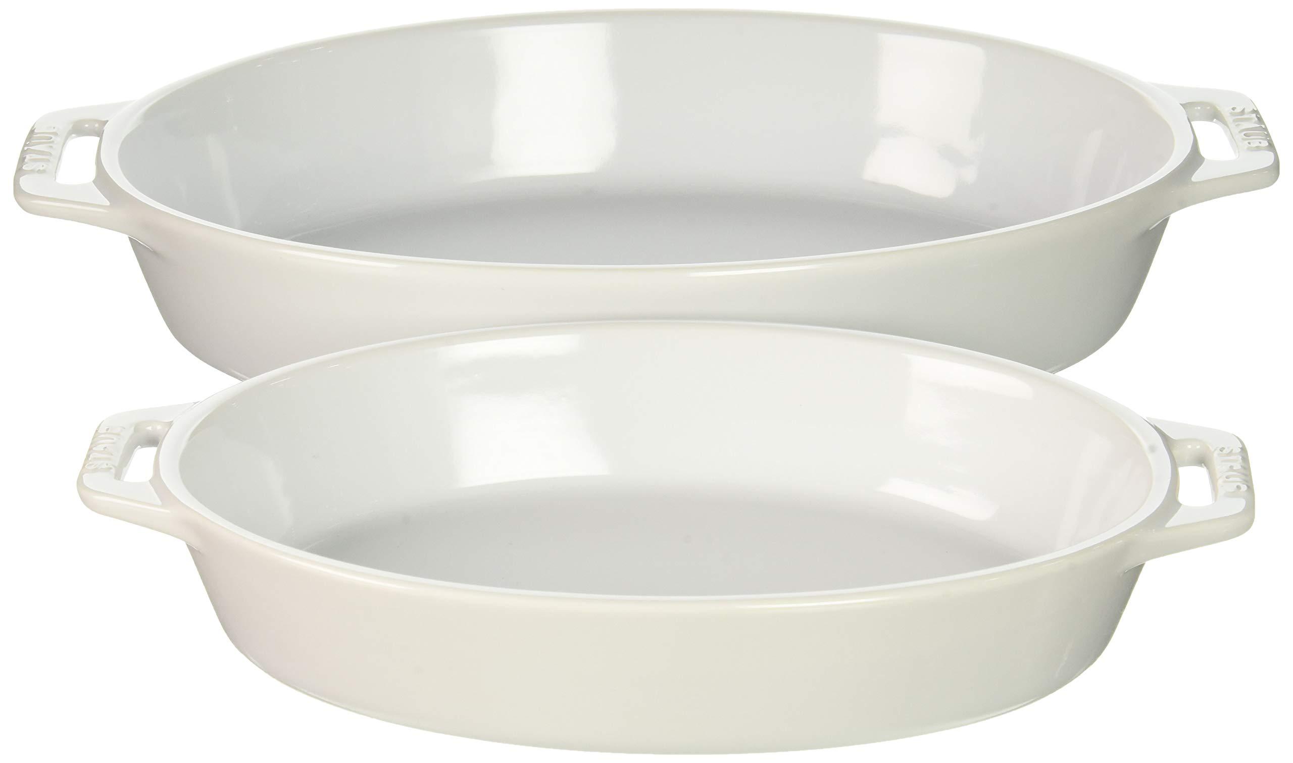 Staub 40508-633 Ceramics Oval Baking Dish Set, 2-piece, White