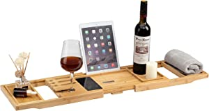 PARANTA Bamboo Foldable Bathtub Tray for Tub Against Wall , Adjustable Wooden Tub Tray with Extending Sides Tub with Reading Rack, Wine Glass Holder and Soap Holder Natural