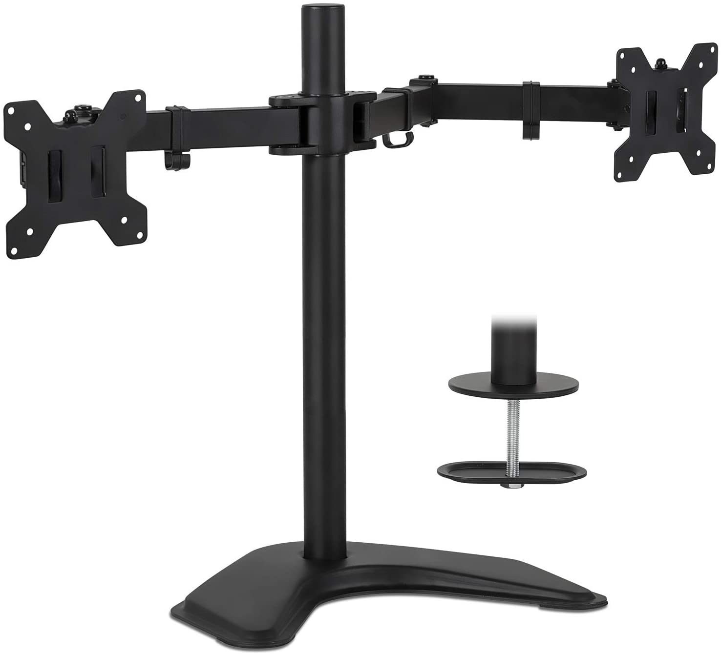Mount-It! Dual Monitor Stand | 2 Monitor Mount Fits 19 20 21.5 24 27 29 32 Inch Computer Screens | Free Standing and Grommet Bases | Two Heavy Duty Tilt Swivel Height Adjustable Arms | VESA Compatible